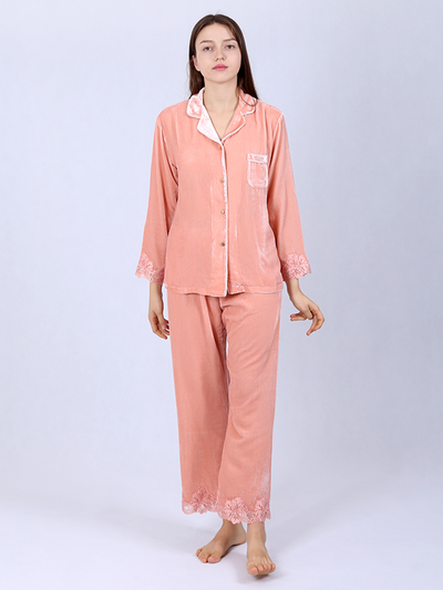 Silk Velvet Pajamas For Women With Lace Cuffs、Real Silk Life