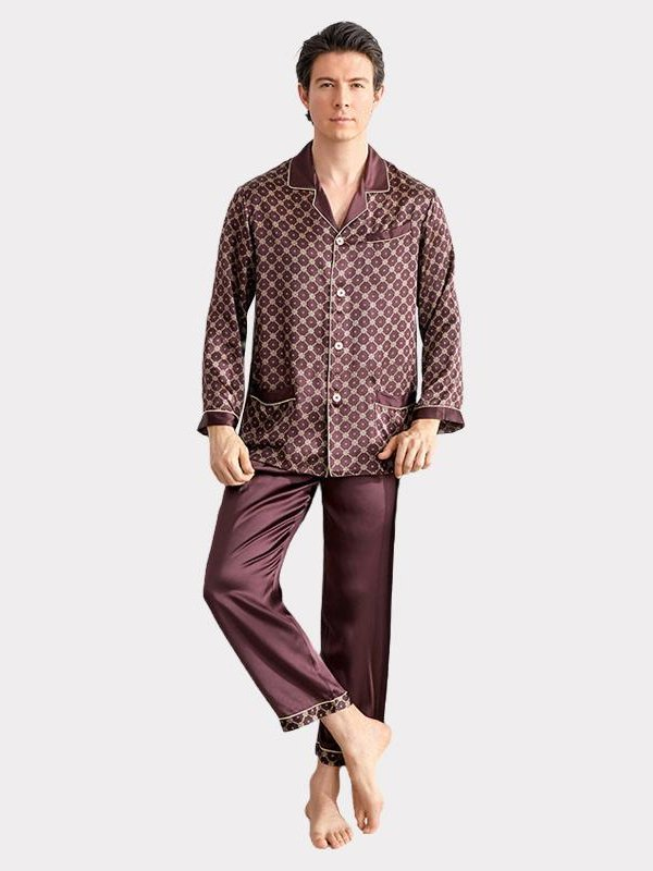 19 Momme Chocolate Printed Silk Pajams For Men、Real Silk Life