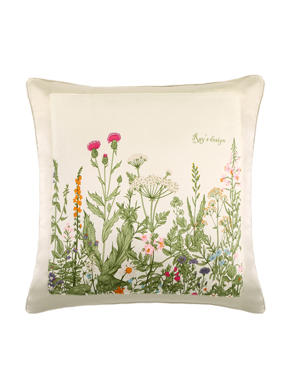 Vegetation Printed Decorative Silk Cushion European Pillowcase、RealSilkLife