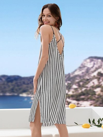 22 Momme Franch Design Classic Stripe Printed Silk Nightgwon、Real Silk Life