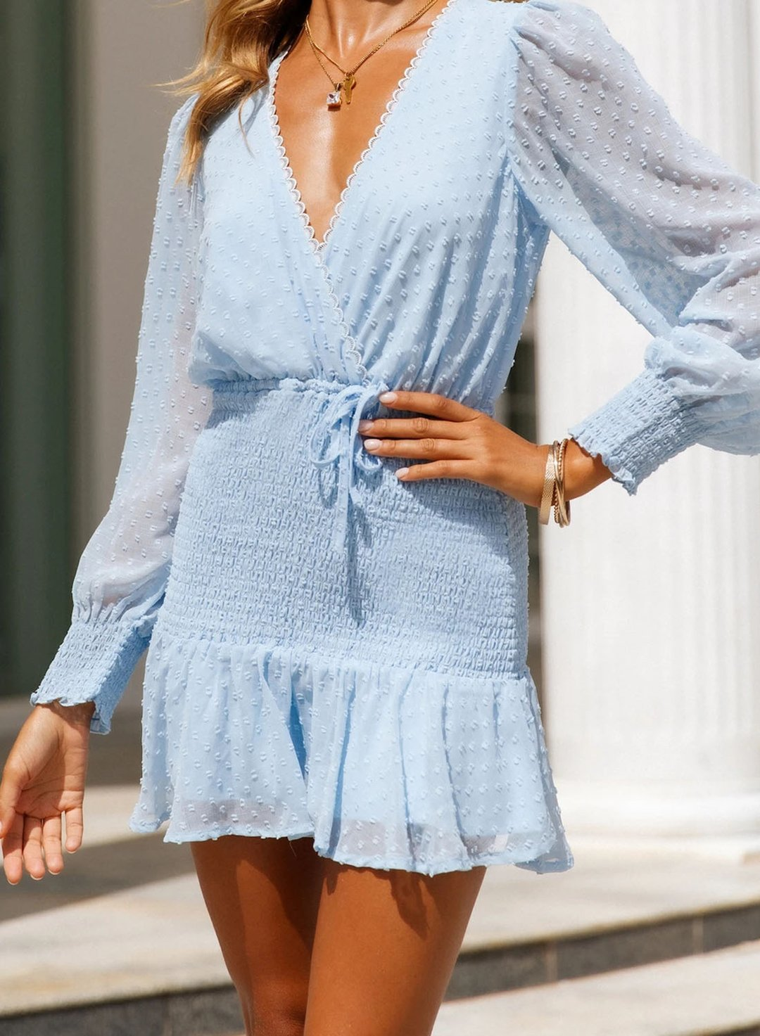 Sky Blue Women's Dress Dot Tie Front Mini Dress LC225963-4