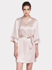 Monogrammed 22 Momme High Quality Women's Lacey Silk Robe、Real Silk Life