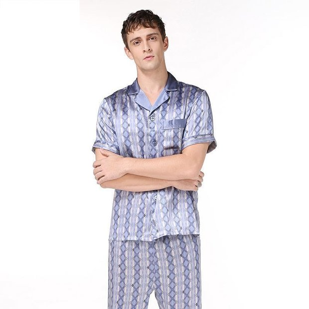 19 Momme Printed Design Silk Pajamas Set for Men、Real Silk Life