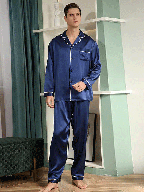 22 Momme Luxury Long Sleeves V-neck Pajamas Set For Men | Multi-Colors Selected、Real Silk Life