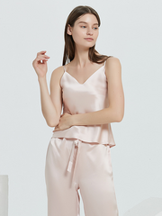 25 Momme Light Pink Silk Camisole Pajamas Set、REAL SILK LIFE