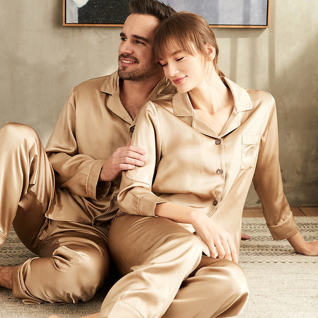 19 Momme Champagne Long Sleeves Classic Silk Long Pajamas Set For Couple、REAL SILK LIFE
