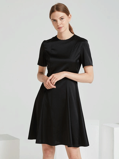 Luxury Black Elegant Silk Dress、Real Silk Life