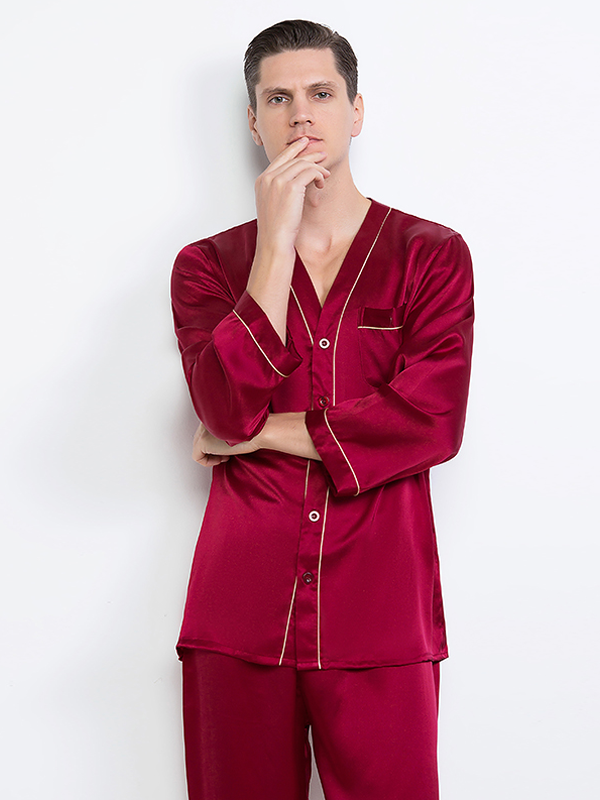 22 Momme Lifestyle Long Silk Pajamas Set For Men、Real Silk Life