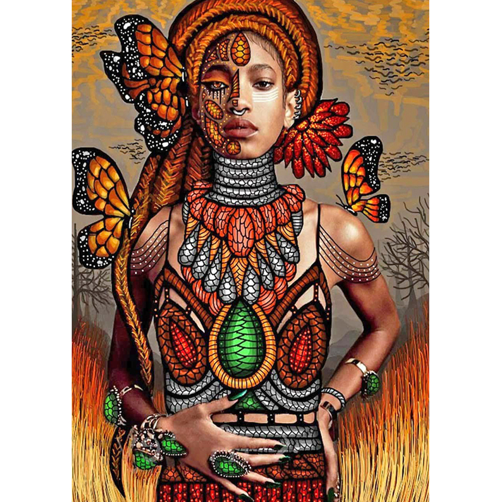 30*40CM - Round Drill Diamond Painting - African Tribal Beauty, 501 Original