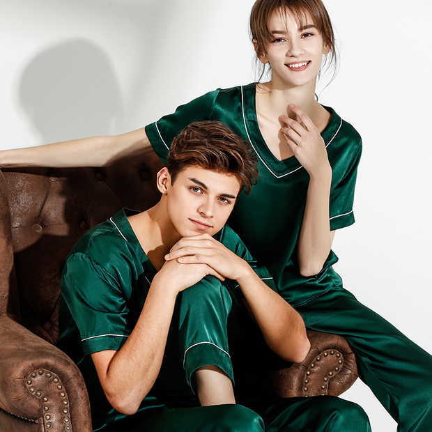 Monogrammed 19 Momme Life Style Silk Long Pajamas Set For Couple、Real Silk Life