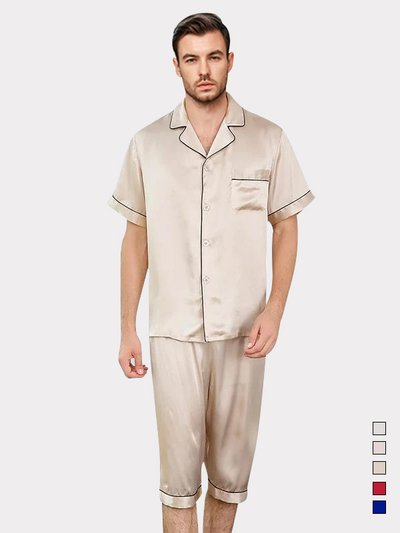 19 Momme Classic Short Sleeve Silk Pajamas Set for Men、Real Silk Life