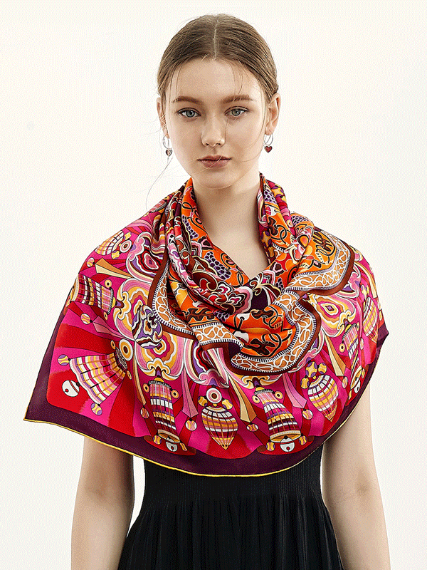 Red Printed Silk Scarf 1021190041 106*106、REAL SILK LIFE