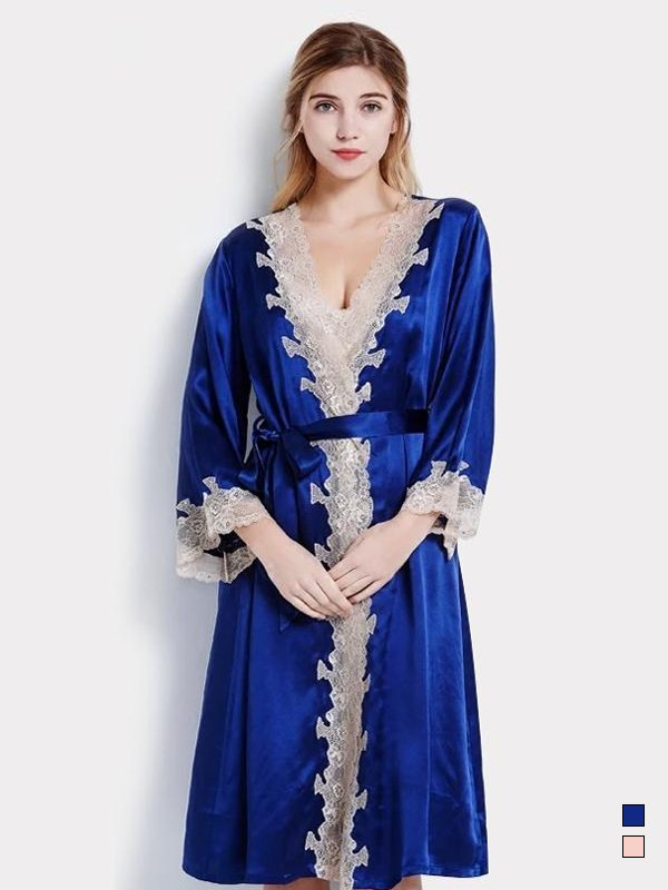 19 Momme Women's Contra Trim And Full Length Silk Robe、Real Silk Life