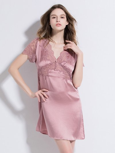 19 Momme Charm Pink Lace Short Sleeves Silk Nightgown、Real Silk Life