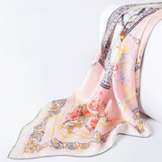 Light Pink Printed Silk Scarf 1021180640 90*90、REAL SILK LIFE