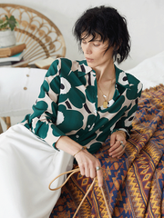 Green Daisy Flora Printed Silk Shirt、Real Silk Life