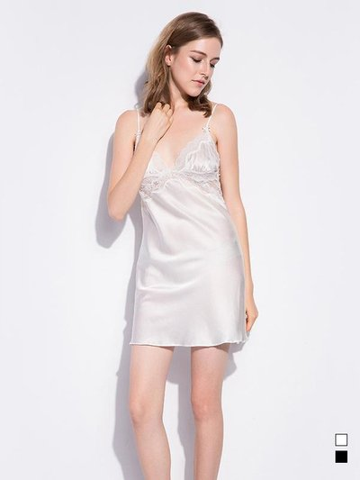 19 Momme Classic Short Lace Silk Nightgown | Two Colors Selected、Real Silk Life