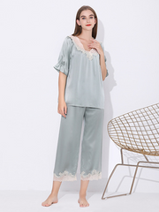 22 Momme High Quality Vintage Romantique Collection Lacey Silk Pajamas Set、Real Silk Life
