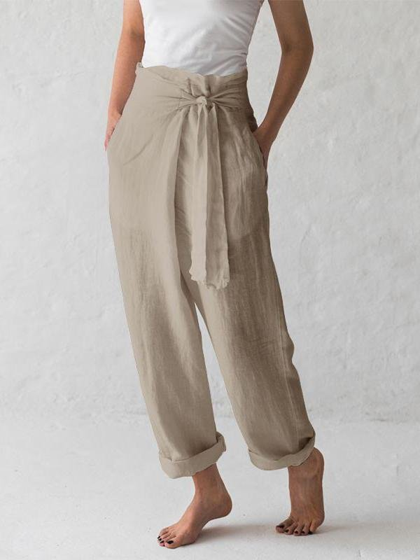 Solid Color High-waist Pleated Casual Pants - toplula