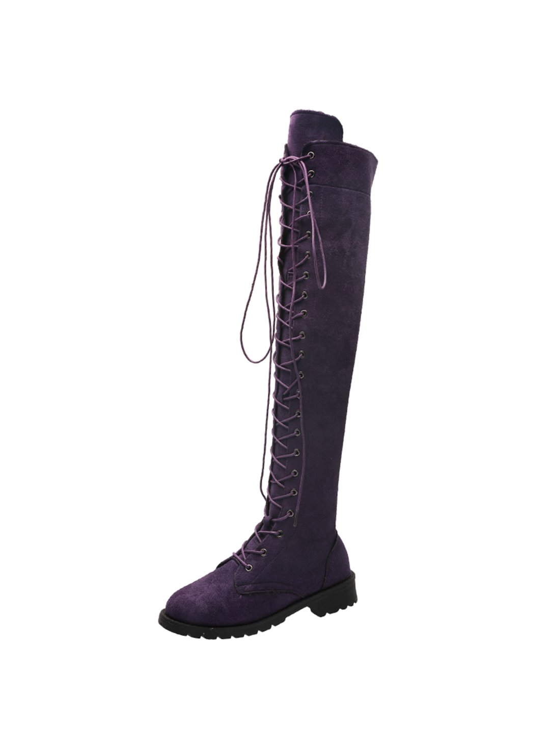Purple Women Lace-up Overknee Suede Boots LC12349-8