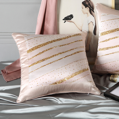 Stripe Printed Decorative Silk Cushion European Pillowcase、RealSilkLife