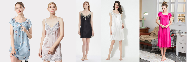 womens silk nightgowns
