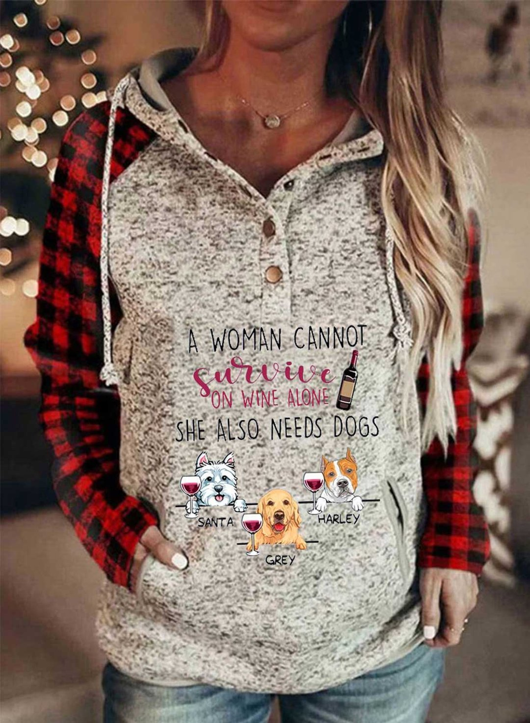 Gray Women's Hoodies Plaid Dog Letter Long Sleeve Daily Casual Button Pocket Drawstring Hoodie LC2536788-11