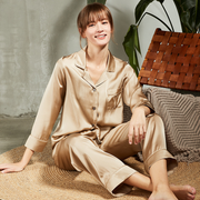 Monogrammed 19 Momme Champagne Long Sleeves Classic Silk Long Pajamas Set For Couple、Real Silk Life
