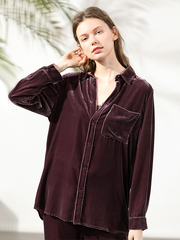 Sumptuous Polo Silk Velvet Shirt With Pocket For Women、Real Silk Life