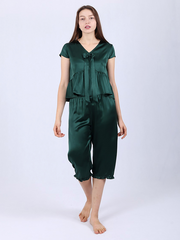 22 Momme Women's Silk Pajamas With Bowknot、Real Silk Life