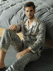High Quality Sophisticate Printed Silk Pajamas Set For Men、Real Silk Life