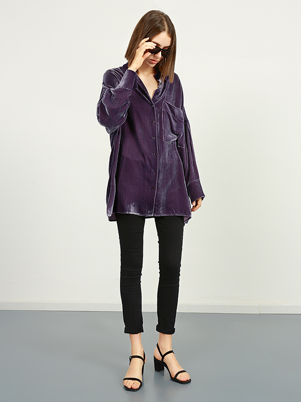 Regular Fit Silk Velvet Shirt With Pocket For Women、Real Silk Life