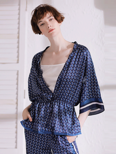 Navy Blue Summer Pull Over Silk Pajamas Set For Women | 3pcs、Luxury Silk Life