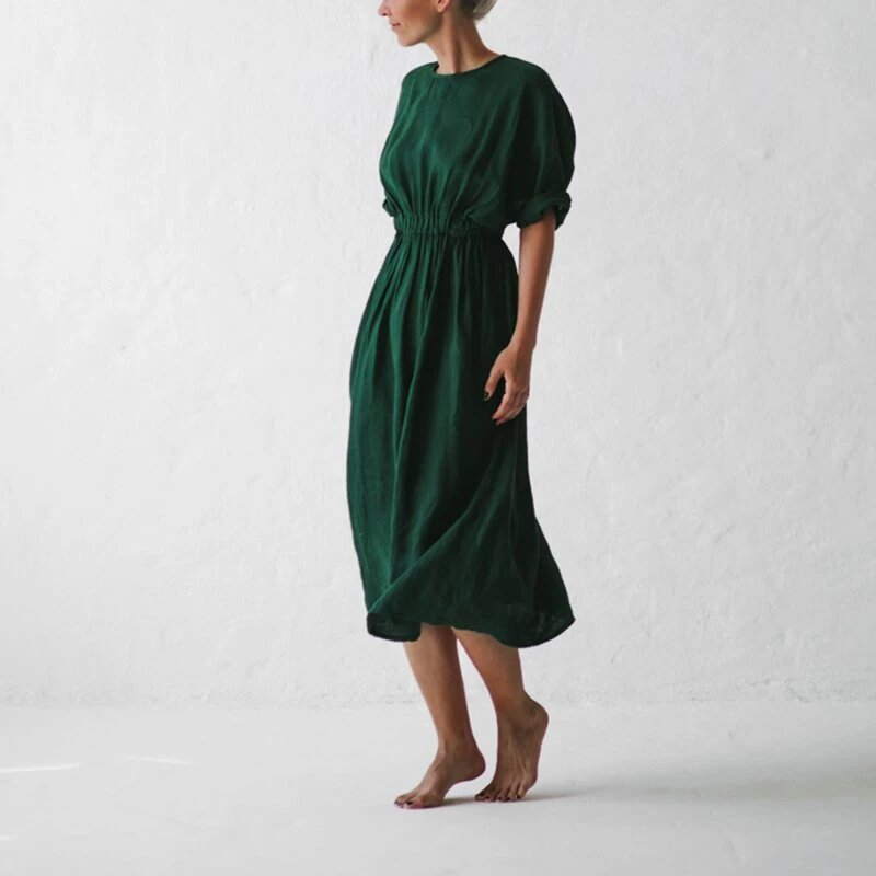 Casual V-neck long-sleeved solid color cotton and linen dress - toplula