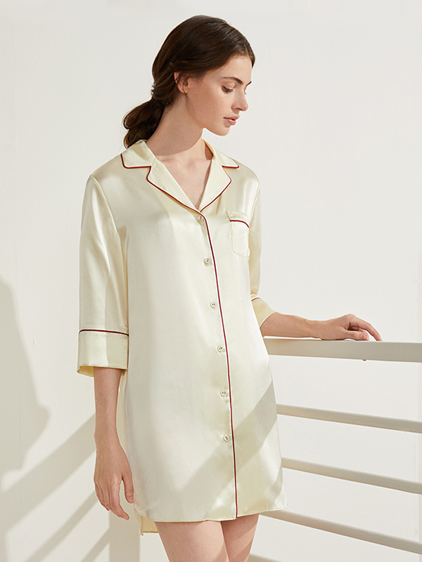 19 Momme Notched Collar Silk Sleep Shirt  (Multi-Color Selected)、Real Silk Life
