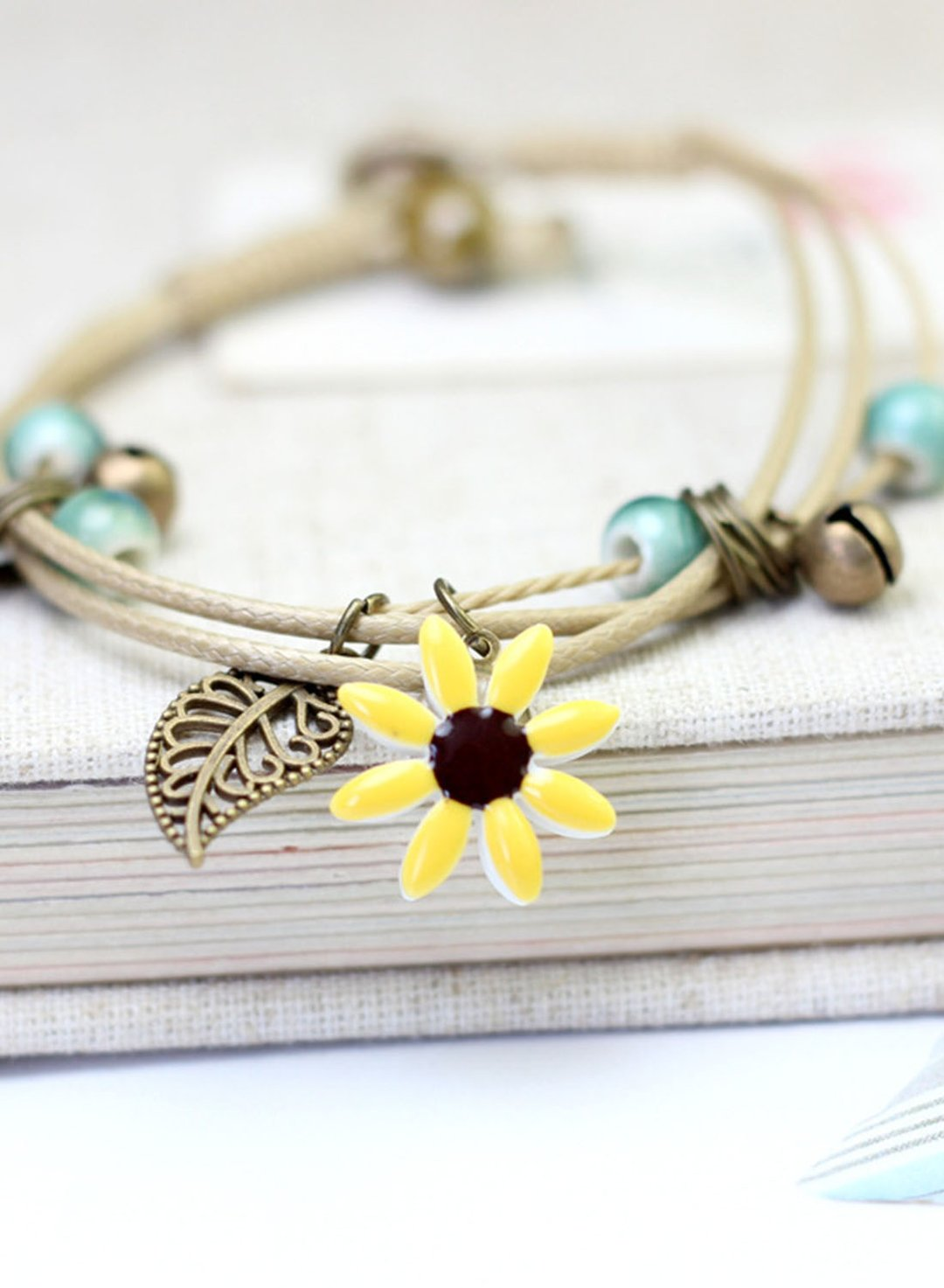 Yellow Women's Bracelets Floral Fruits & Plants Ceramics Bracelets LC011387-7