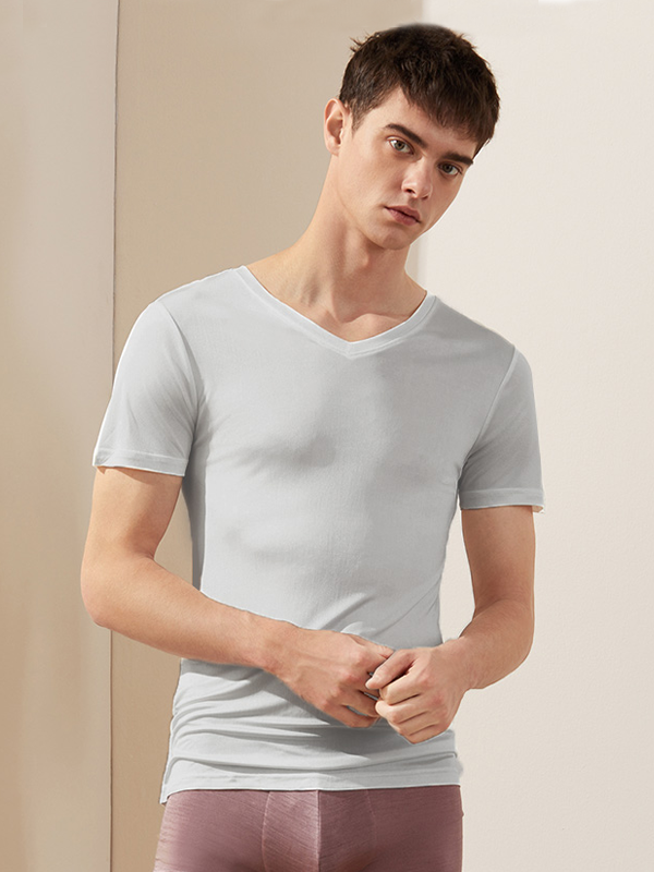 19 Momme V-neck Plain Color Silk Tee For Men (Multi-Color Selected)、Real Silk Life