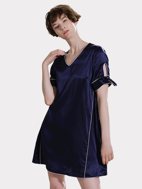 Elegant  Navy Blue Short Sleeves Silk Nightgown、Luxury Silk Life