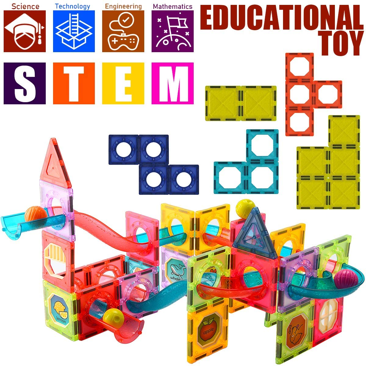 Lighted Magnetic Tiles Building Blocks for Kids Ages 20 20,Magnet ...