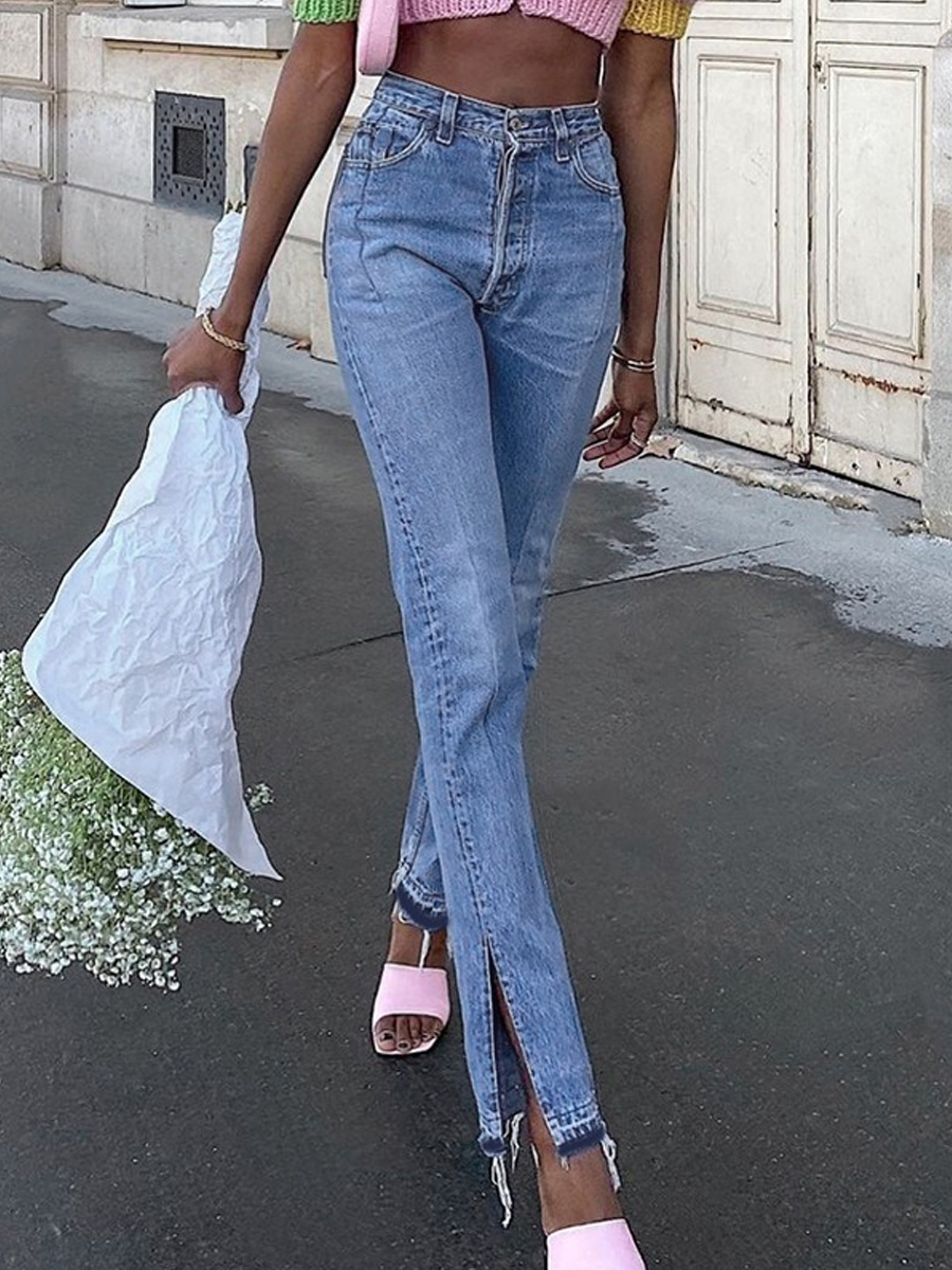 Loose high-rise straight-leg jeans