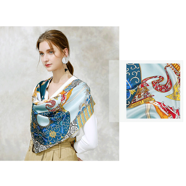 Blue Printed Silk Scarf 1021170331 106*106、REAL SILK LIFE