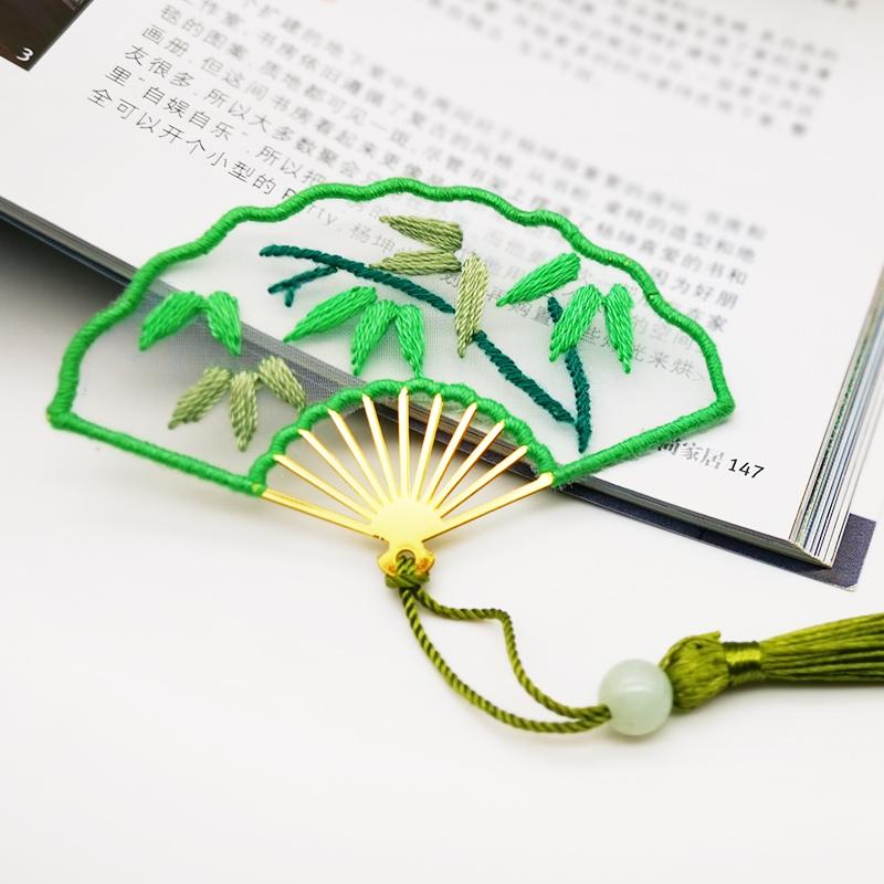 Bamboo - Fan Shaped Bookmark Embroidery - Cross Stitch, 501 Original
