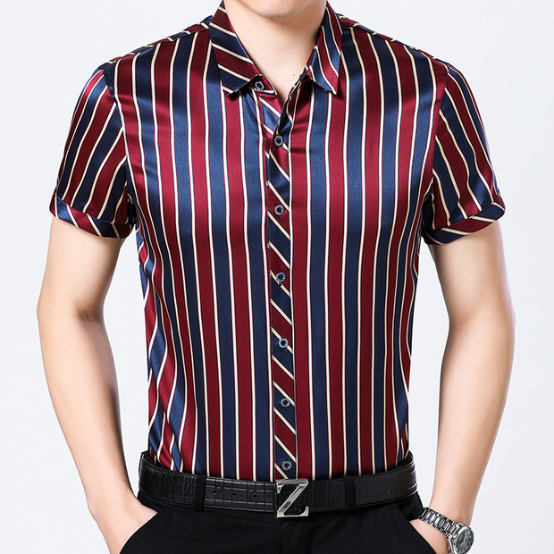 Cozy Striped Short Sleeves Silk Shirt For Mens| Multi-Colors Selected、Real Silk Life