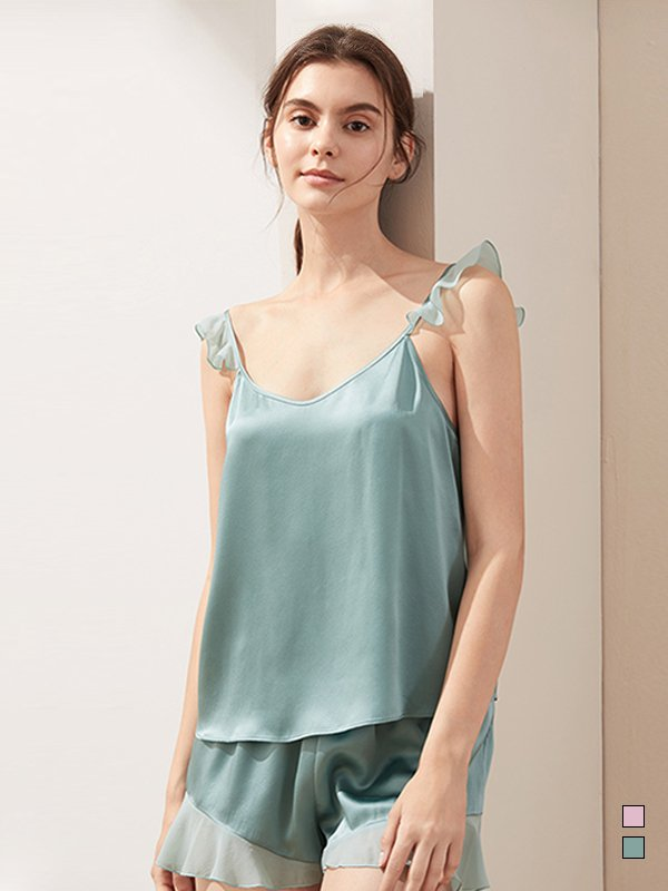22 Momme Franch Design Sweety Lace Silk Camisole Set、Real Silk Life