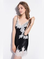 19 Momme White Lace Black Silk Nightgown、Real Silk Life