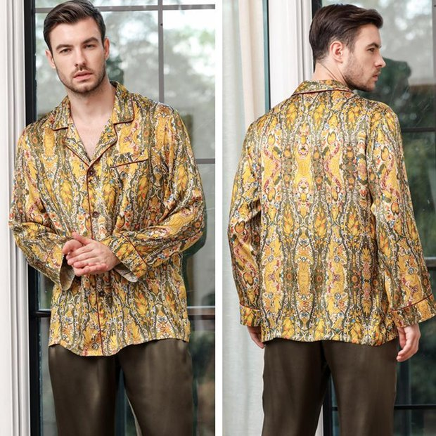 22 Momme High Quality Fashion Affordable Silk Pajamas Set For Men、Real Silk Life