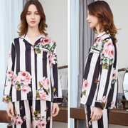 19 Momme Flower Stripes Printed Silk Pajamas、Real Silk Life