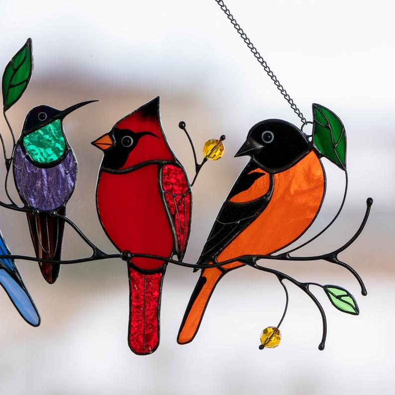 Birds stained glass window hangings Mothers Day gift Stained image 5