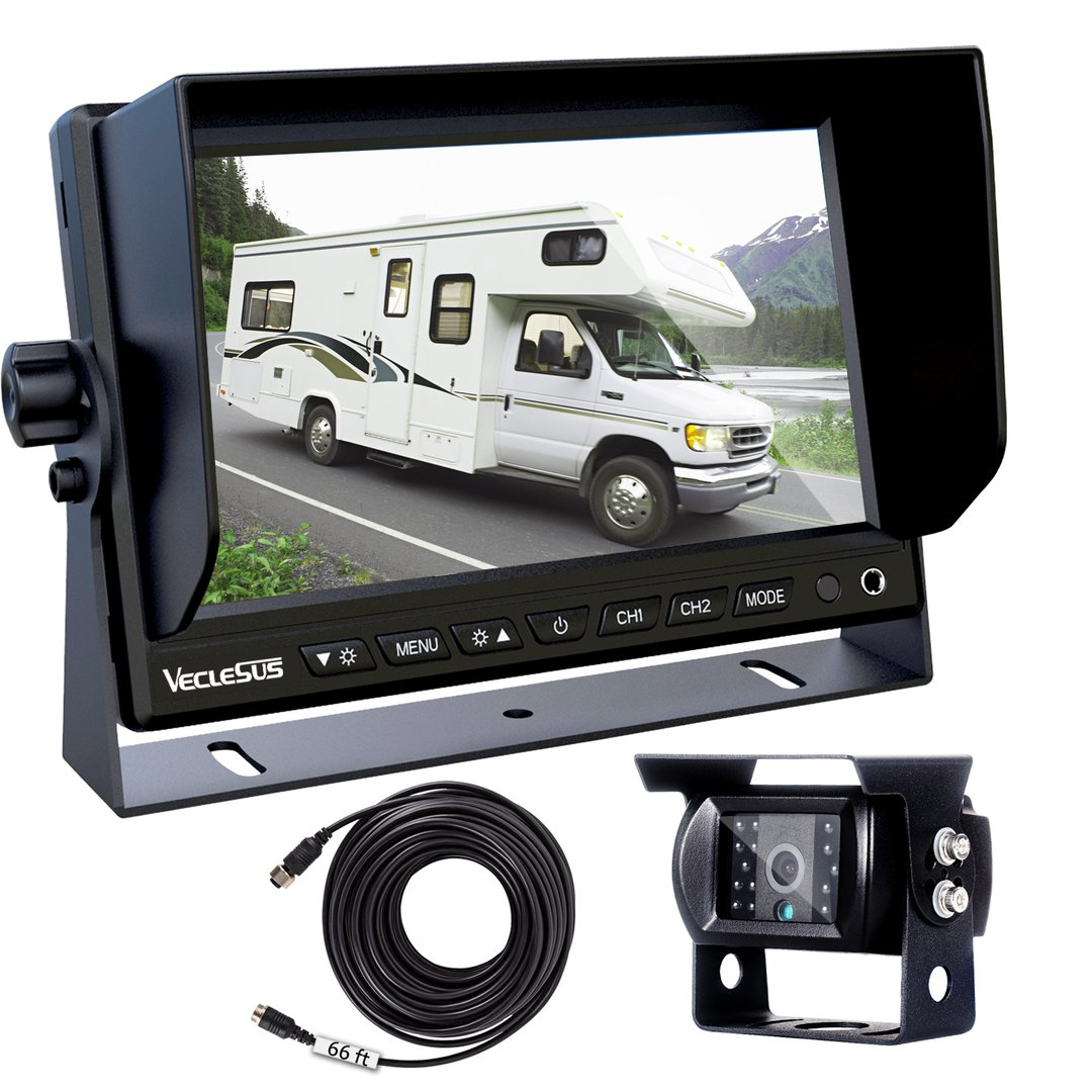 EVERSECU 2pcs Wireless Vehicle Backup Cameras Plus 7 Monitor Parking Assistance System for RV//SUV//Van//Pickup//Truck//Trailer Rear//Side//Front View System Switchable