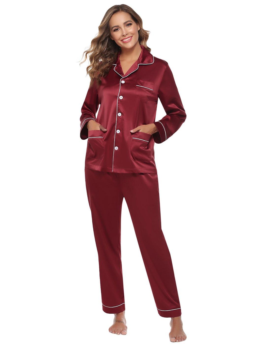 Abollria Women Cotton Pajama Set Long Sleeve Tops and Pajama Bottoms with Pockets Loungewear Set Sleepwear
